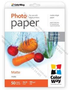 Изображение Фотобумага ColorWay матовая 190 г/м, 10х15, 50 л.