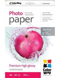 Изображение Фотобумага ColorWay суперглянцевая 255 г/м, A4, 50