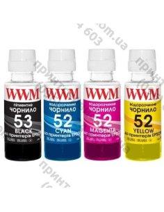 Изображение Чернила WWM HP GT52/53, 4х100г (B/C/M/Y) для Ink